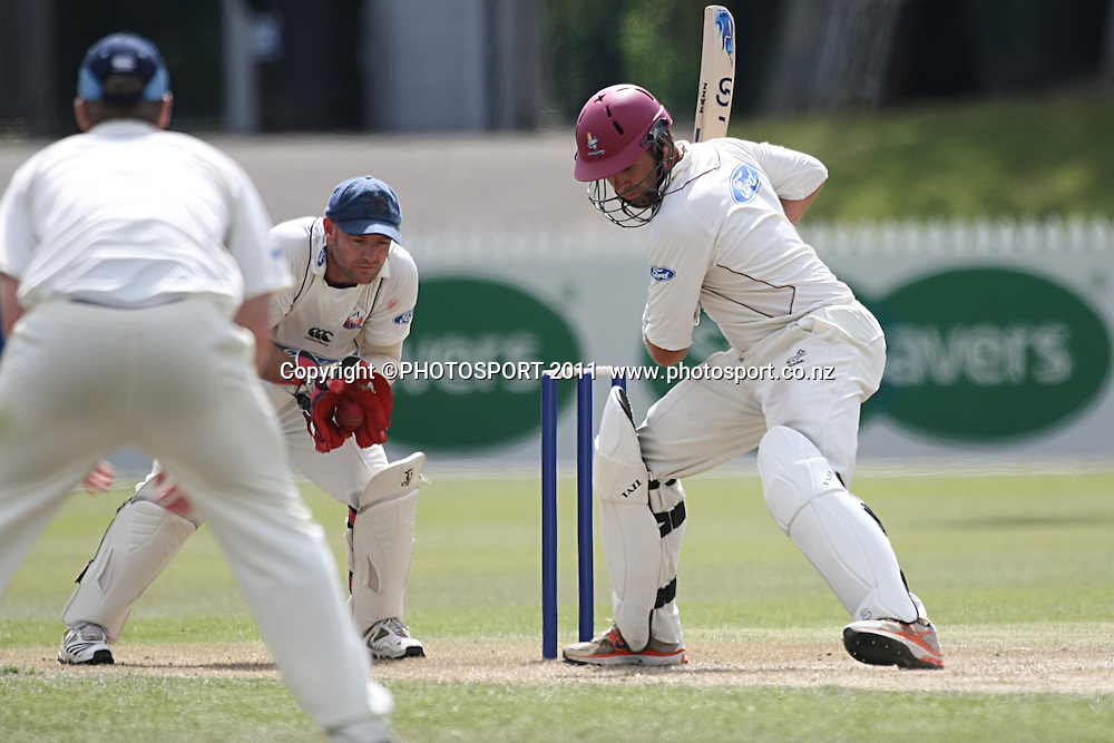 Brad Wilson in action for the Knights as the Aces  Gareth Hopkins catches the ball,Cricket, Northern Knights Vs The Auckland Ace's during day two of their Plunket Shield Game at Seddon Park in Hamilton, Tuesday 15 March 2011.<br /> Photo: Dion Mellow / photosport.co.nz