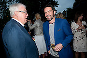 FRANK DUNPHY; ELLIOT MACDONALD, The Summer party 2011 co-hosted by Burberry. The Summer pavilion designed by Peter Zumthor. Serpentine Gallery. Kensington Gardens. London. 28 June 2011. <br /> <br />  , -DO NOT ARCHIVE-© Copyright Photograph by Dafydd Jones. 248 Clapham Rd. London SW9 0PZ. Tel 0207 820 0771. www.dafjones.com.