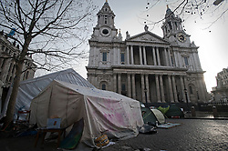 © Licensed to London News Pictures. 13/02/2012. London, UK. Tents at the Occupy London camp at St Paul's Cathedral on February 13th, 2012 in London, England. An appeal is being heard at the High Court today (13/02/2012) against a judgement handed down for the group's eviction from the protest camp brought by the City of London Corporation. Photo credit : Ben Cawthra/LNP
