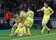 Chelsea's Branislav Ivanovic is congratulated during the Champions League match between Paris Saint-Germain and Chelsea at Parc des Princes, Paris, France on 17 February 2015. Photo by Phil Duncan.