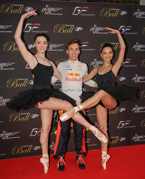 Hurlingham Club ,London, England, UK. 10th July, 2017. Pierre Gasly and Black Orchid Ballerinas performs at The Grand Prix Ball attracted a host of star-studded celebrity guests last night at Hurlingham Club , including Formula 1 drivers as well as iconic Formula 1 cars. Guests mingled with the elite whist being enterained with live performances by award winning UK artists and DJs ahead of the British Grand Prix at Silverstone.