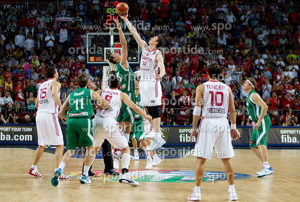 Primoz Brezec of Slovenia vs Omer Asik of Turkey during the quarter-final basketball match between National teams of Turkey and Slovenia at 2010 FIBA World Championships on September 8, 2010 at the Sinan Erdem Dome in Istanbul, Turkey.  (Photo By Vid Ponikvar / Sportida.com)