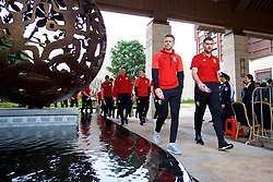 NANNING, CHINA - Monday, March 26, 2018: Wales' Chris Gunter and Sam Vokes during a team walk near the Wanda Realm Resort on day seven of the 2018 Gree China Cup International Football Championship ahead of the final against Uruguay. (Pic by David Rawcliffe/Propaganda)