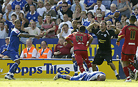 Photo: Aidan Ellis.<br /> Leicester City v Watford. Coca Cola Championship. 25/08/2007.<br /> Leicester's D.J Campbell and the coach shout out after a foul by Watford's Lee Williamson on Iain Hume