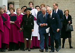 (L-R) Camilla, Duchess of Cornwall, Prince Harry, Prince Charles, Prince of Wales and Prince William, Duke of Cambridge, attends the funeral of Hugh van Cutsem. Hugh, a former officer in the Household Cavalry, had been close friends with Prince Charles since their days together at Cambridge University, United Kingdom. Wednesday, 11th September 2013. Picture by i-Images