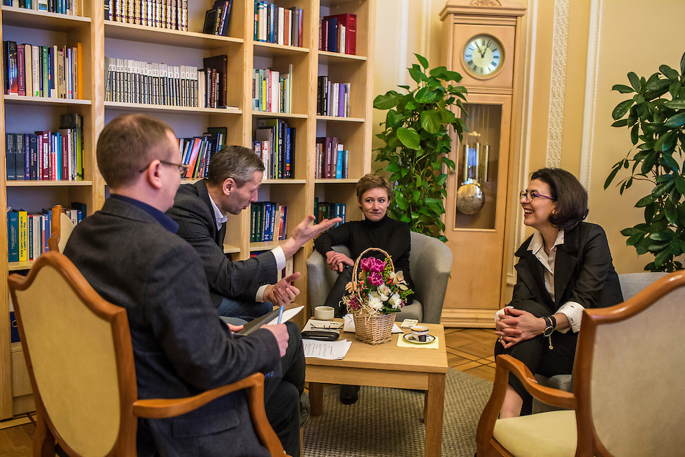KIEV, UKRAINE - MARCH 4, 2016: Oksana Syroyid, right, deputy speaker of the Ukrainian parliament, participates in a security meeting with staff in her office in Kiev, Ukraine. Syroyid is one of parliament's main opponents of the constitutional reforms called for in the Minsk agreement intended to resolve fighting in eastern Ukraine. CREDIT: Brendan Hoffman for The New York Times