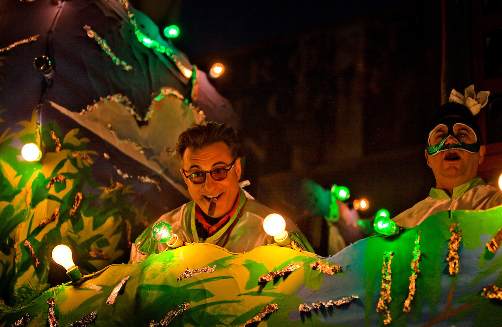 New Orleans, Louisiana, February 19, Andy Garcia rides on a float in the Bacchus Parade as an honorary guest during the 2012 Mardi Gras season.