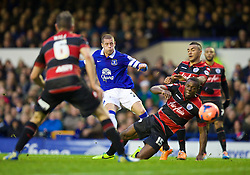 LIVERPOOL, ENGLAND - Saturday, January 4, 2014: Everton's Ross Barkley scores the first goal against Queens Park Rangers during the FA Cup 3rd Round match at Goodison Park. (Pic by David Rawcliffe/Propaganda)