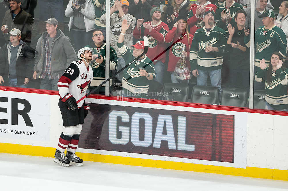 Dec 17, 2016; Saint Paul, MN, USA; Arizona Coyotes defenseman Oliver Ekman-Larsson (23) looks on after allowing a goal during the third period against the Minnesota Wild at Xcel Energy Center. The Wild defeated the Coyotes 4-1. Mandatory Credit: Brace Hemmelgarn-USA TODAY Sports
