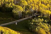 Gondola (cable car) from Telluride to Mountain Village, Telluride, Colorado USA