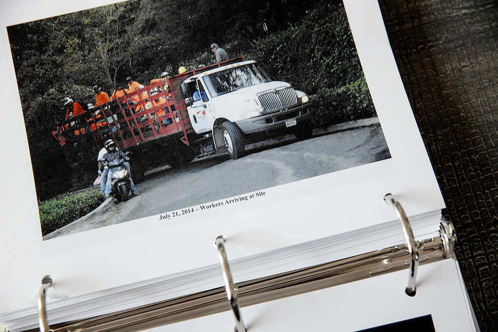 Pictures show construction workers arriving in a truck at the mansion of Mohamed Hadid under construction at 901 Strada Vecchia on in the Bel Air neighborhood of Thursday, July 16, 2015 in Los Angeles, California. Photo by Patrick T. Fallon for DailyMail.com