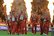 Lancashire celebrate during the NatWest T20 Blast final match between Northants Steelbacks and Lancashire Lightning at Edgbaston, Birmingham, United Kingdom on 29 August 2015. Photo by David Vokes.