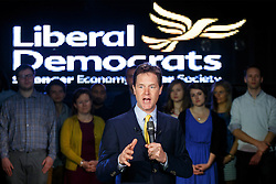 © licensed to London News Pictures. London, UK 06/05/2014. Nick Clegg launches his party's 2014 local election campaign and highlights Liberal Democrat's frozen council tax policy on Tuesday, May 6, 2014 at Ministry of Sound in south London. Photo credit: Tolga Akmen/LNP