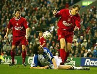 Photo. Aidan Ellis.<br /> Liverpool v Blackburn.<br /> FA Barclaycard Premiership.<br /> 04/04/2004.<br /> Liverpool's Dietmar Hamann has a shot blocked by Blackburn's Nils Eric Johansson