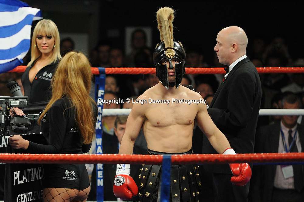 Ricky Burns defeats Michael Katsidis (seen entering the ring) for WBO Lightweight Title at Wembley Arena on the 05.11.11. Promoter Frank Warren.Photo credit: © Leigh Dawney 2011.