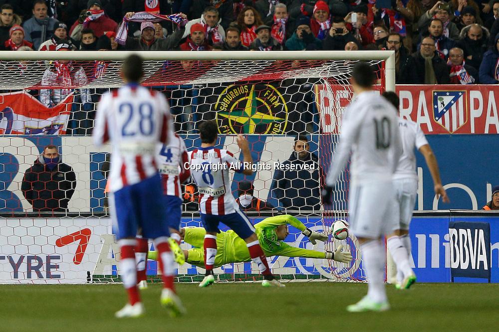 07.01.2015. Madrid, Spain. Copa del Rey Cup football. Atletico Madrid versus Real Madrid.  Raul Garcia Escudero Midfielder of Atletico de Madrid scores his team´s goal for 1-0.