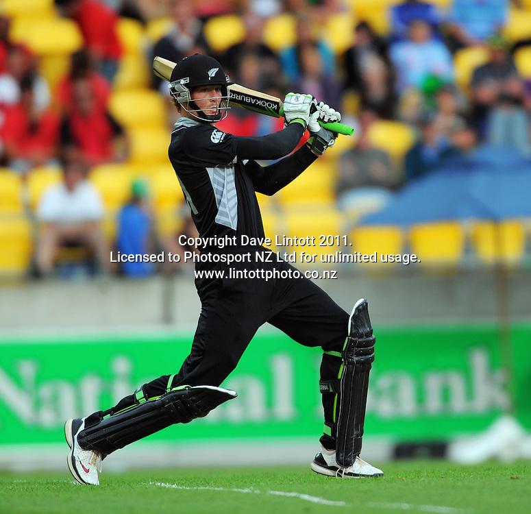 NZ opener Martin Guptill. First one-day international cricket match - New Zealand v Pakistan at Westpac Stadium, Wellington, New Zealand on Saturday, 22 January 2011. Photo: Dave Lintott / photosport.co.nz