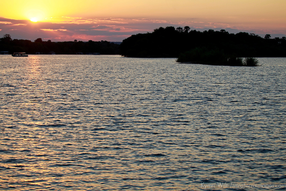 Africa, Zimbabwe, Victoria Falls. Sunset Cruise on the Zambezi River.