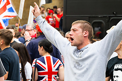 """A man yells slogans as several hundred protesters in  central London demand the release of """"political prisoner"""" right wing talisman Stephen Yaxley-Lennon  - also known as Tommy Robinson, who was imprisoned for contempt of court. London, August 03 2019."""