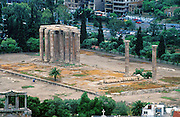 The Temple of Olympian Zeus was built in Athens, Greece, in the 500s BC to 131 AD, using 104 Corinthian columns, each 17 meters high. Of the 15 remaining columns, one fell in 1852. During Roman times it was renowned as the largest temple in Greece and housed one of the largest cult statues in the ancient world.