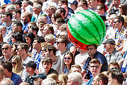 Tranmere Rovers football fans, football supporters, inflatable melon, during the EFL Sky Bet League 2 Play Off Final match between Newport County and Tranmere Rovers at Wembley Stadium, London, England on 25 May 2019.