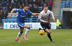 Joe Ward of Peterborough United in action with Luke O'Neill of Gillingham - Mandatory by-line: Joe Dent/JMP - 10/02/2018 - FOOTBALL - MEMS Priestfield Stadium - Gillingham, England - Gillingham v Peterborough United - Sky Bet League One