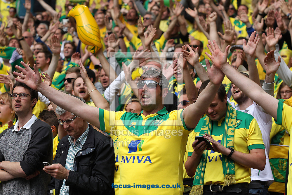 The Norwich fans celebrate victory at the end of the Sky Bet Championship Play-off Final at Wembley Stadium, London<br /> Picture by Paul Chesterton/Focus Images Ltd +44 7904 640267<br /> 25/05/2015