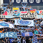 New York City FC fans displaying banners against terror and ISIS during the New York City FC Vs New England Revolution, MSL regular season football match at Yankee Stadium, The Bronx, New York,  USA. 26th March 2016. Photo Tim Clayton
