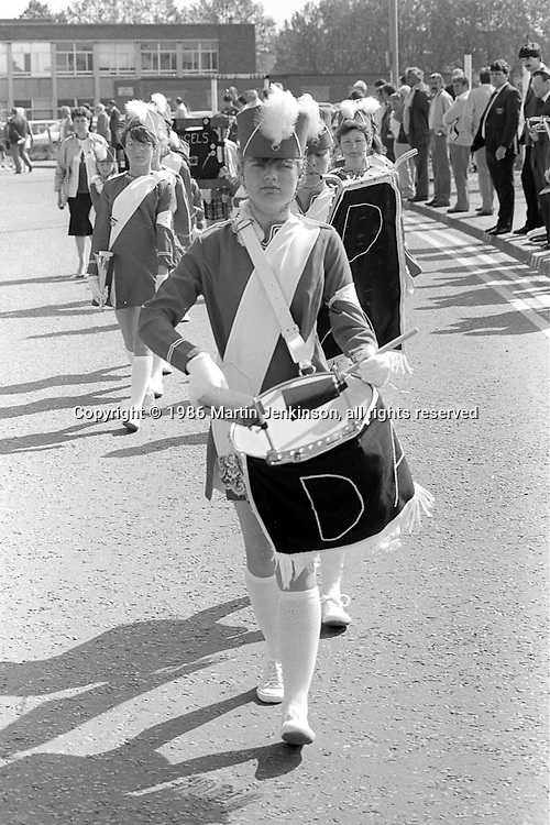 Denaby Angels Jazz Band, Yorkshire Miners Gala. 1986 Doncaster.
