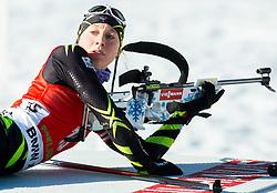 LATUILLIERE Enora (FRA) competes during Women 12,5 km Mass Start at day 4 of IBU Biathlon World Cup 2014/2015 Pokljuka, on December 21, 2014 in Rudno polje, Pokljuka, Slovenia. Photo by Vid Ponikvar / Sportida