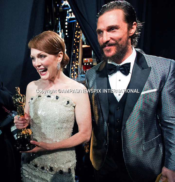 22.02.2015; Hollywood, California: 87TH OSCARS - JULIANNE MOORE and MATTHEW McCONAUGHEY<br /> <br /> Annual Academy Awards Telecast, Dolby Theatre, Hollywood.<br /> Mandatory Photo Credit: NEWSPIX INTERNATIONAL<br /> <br />               **ALL FEES PAYABLE TO: &quot;NEWSPIX INTERNATIONAL&quot;**<br /> <br /> PHOTO CREDIT MANDATORY!!: NEWSPIX INTERNATIONAL(Failure to credit will incur a surcharge of 100% of reproduction fees)<br /> <br /> IMMEDIATE CONFIRMATION OF USAGE REQUIRED:<br /> Newspix International, 31 Chinnery Hill, Bishop's Stortford, ENGLAND CM23 3PS<br /> Tel:+441279 324672  ; Fax: +441279656877<br /> Mobile:  0777568 1153<br /> e-mail: info@newspixinternational.co.uk