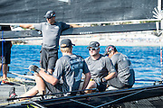 Emirates Team New Zealand getting a few minutes to prepare between races on day two of the Extreme Sailing Series at Nice. 3/10/2014