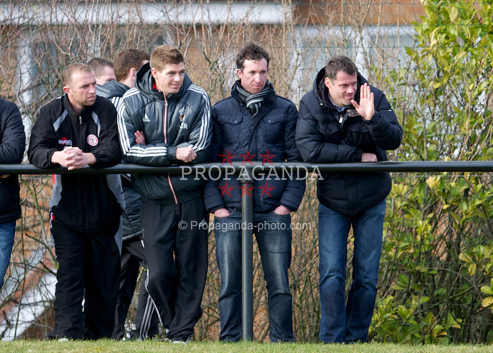 KIRKBY, ENGLAND - Tuesday, February 21, 2012: Liverpool's captain Steven Gerrard and Jamie Carragher chat with former striker Robbie Fowler during the FA Premier Reserve League match against Everton at the Kirkby Academy. (Pic by David Rawcliffe/Propaganda)