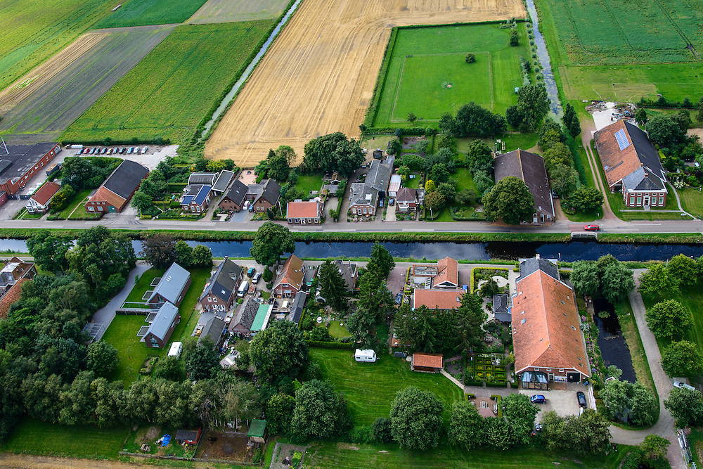 Nederland, Drenthe, Gemeente Hoogezand-Sappemeer, 27-08-2013; Kiel-Windeweer, lintdorp. Oude veenkolonie <br /> Kiel-Windeweer ribbon development. Old peat colony.<br /> luchtfoto (toeslag op standaard tarieven);<br /> aerial photo (additional fee required);<br /> copyright foto/photo Siebe Swart.