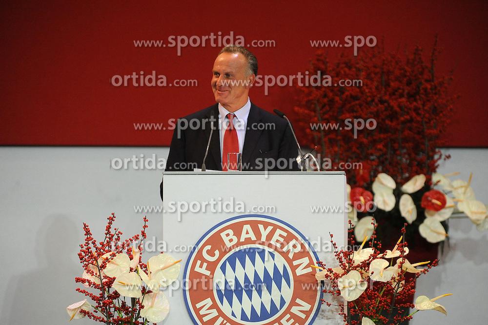 13.11.2013, Audi Dome, Muenchen, GER, 1. FBL, Jahreshauptversammlung FC Bayern Muenchen, im Bild Ein gluzecklicher Vorstandsvorsitzender Karl-Heinz Rummenigge (FC Bayern Muenchen) // during the annual General Meeting of 2013 at the Audi Dome in Muenchen, Germany on 2013/11/13. EXPA Pictures &copy; 2013, PhotoCredit: EXPA/ Eibner-Pressefoto/ Stuetzle<br /> <br /> *****ATTENTION - OUT of GER*****
