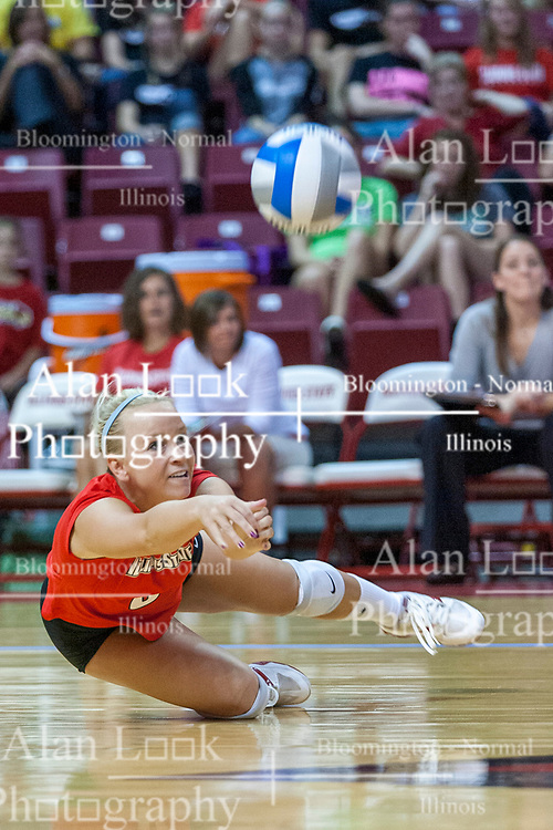 28 September 2008: Kasey Mollerus falls to her right to dig a serve from the Braves. The Braves took the first set, but the Illinois State Redbirds grabbed 3 sets in a row to win the match 3 sets to 1. The Bradley Braves visited the Illinois State Redbirds at Redbird Arena on the campus of Illinois State University in Normal Illinois.