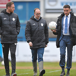 TELFORD COPYRIGHT MIKE SHERIDAN Telford boss Gavin Cowan and club Football Secretary Luke Shelley speak to referee during a pitch inspection ahead of the Vanarama Conference North fixture between AFC Telford United and Alfreton Town at the New Bucks Head Stadium on Thursday, December 26, 2019.<br /> <br /> Picture credit: Mike Sheridan/Ultrapress<br /> <br /> MS201920-036