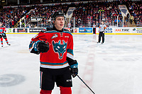 KELOWNA, CANADA - NOVEMBER 17: Kyle Topping #24 of the Kelowna Rockets skates to the bench to celebrate a goal against the Lethbridge Hurricanes on November 17, 2017 at Prospera Place in Kelowna, British Columbia, Canada.  (Photo by Marissa Baecker/Shoot the Breeze)  *** Local Caption ***