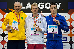 FARRENBERG Carlos, BOKI Ihar, DENYSENKO Iaroslav BRA, BLR, UKR at 2015 IPC Swimming World Championships -  Men's 50m Freestyle S13 PODIUM