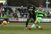Forest Green Rovers George Williams(11) shoots at goal during the EFL Sky Bet League 2 match between Forest Green Rovers and Yeovil Town at the New Lawn, Forest Green, United Kingdom on 16 February 2019.