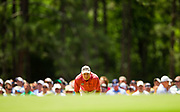 Jim Furyk lines up a putt during the third round of the 2014 U.S. Open Championship in Pinehurst, North Carolina.