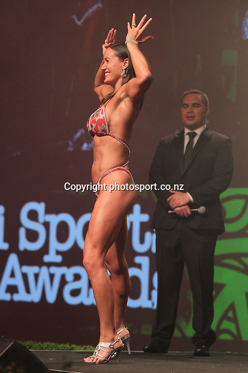 301113 2013  Individual Maori world champion awarded to Teneka Hyndman for pro figure body building at the Trillian Trust Maori Sports Awards at Vodafone Events Centre, Manukau. Photo: Fiona Goodall/photosport.co.nz