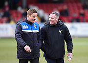 Wimbledon manager Neal Ardley and Oxford manager Michael Appleton before the Sky Bet League 2 match between AFC Wimbledon and Oxford United at the Cherry Red Records Stadium, Kingston, England on 27 February 2016. Photo by David Charbit.