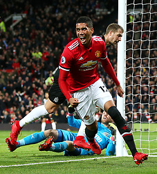 Chris Smalling of Manchester United celebrates after scoring his sides second goal  - Mandatory by-line: Matt McNulty/JMP - 18/11/2017 - FOOTBALL - Old Trafford - Manchester, England - Manchester United v Newcastle United - Premier League