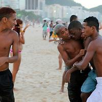 South America, Brazil, Rio de Janeiro. Rescue scene at Copacabana Beach.