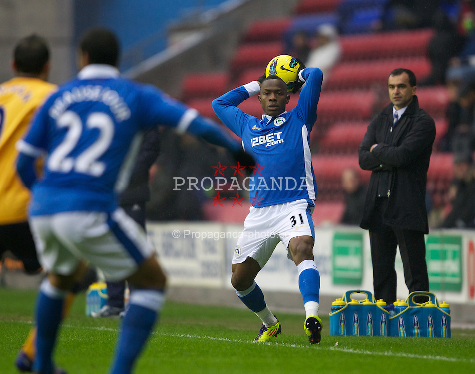 WIGAN, ENGLAND - Saturday, February 4, 2012: Wigan Athletic's Maynor Figueroa during the Premiership match against Everton at the JJB Stadium. (Pic by Vegard Grott/Propaganda)