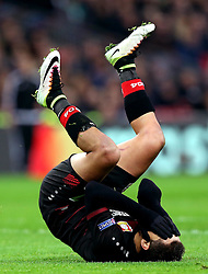 Javier Hernandez of Bayer Leverkusen falls to floor in dejection after missing a chance to score a goal - Mandatory by-line: Robbie Stephenson/JMP - 02/11/2016 - FOOTBALL - Wembley Stadium - London, England - Tottenham Hotspur v Bayer Leverkusen - UEFA Champions League Group E