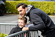 Charlie Daniels (11) of AFC Bournemouth having a picture with a young fan on arrival before the Premier League match between Bournemouth and Crystal Palace at the Vitality Stadium, Bournemouth, England on 7 April 2018. Picture by Graham Hunt.