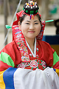 Korean Folk Village. Girl in wedding dress.