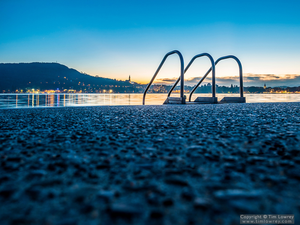 Handrails By The Edge Of Lake Annecy, France